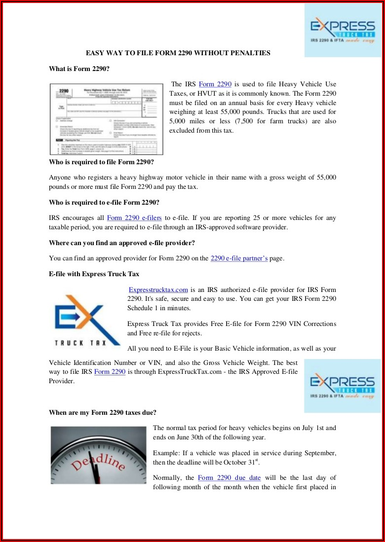 When Is Federal Form 2290 Due