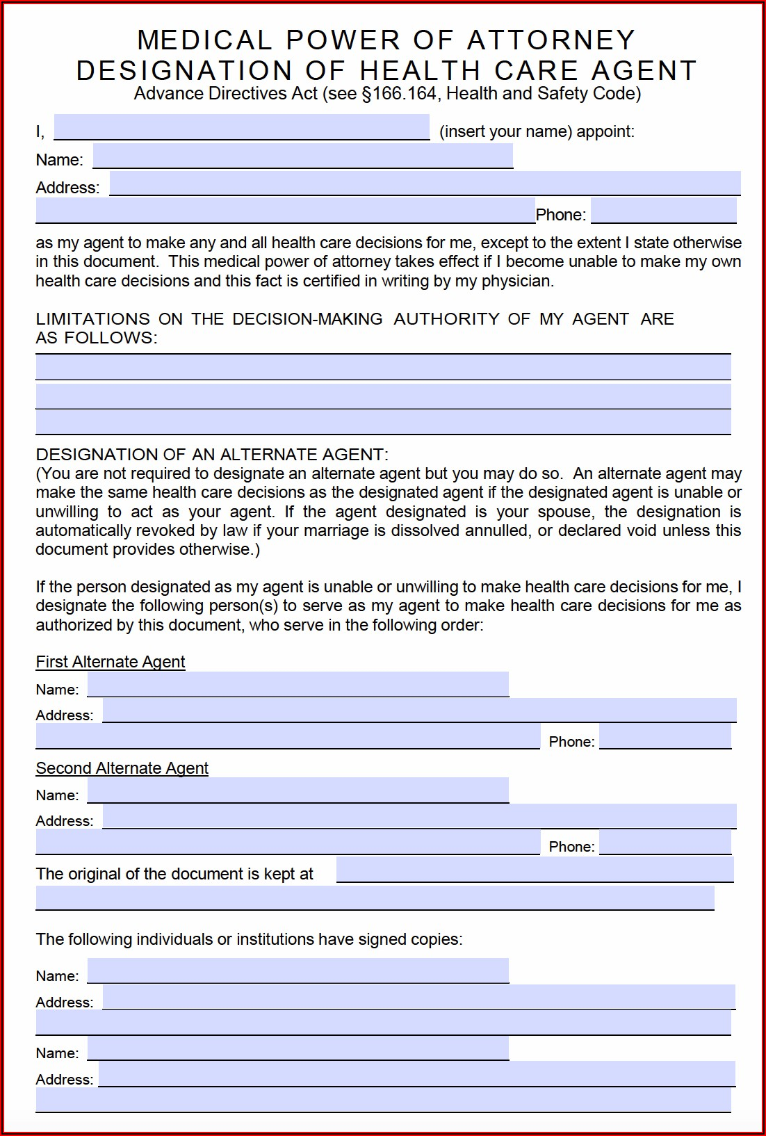 Where Can I Get A Blank Medical Power Of Attorney Form
