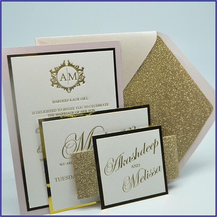 White And Gold Foil Wedding Invitations