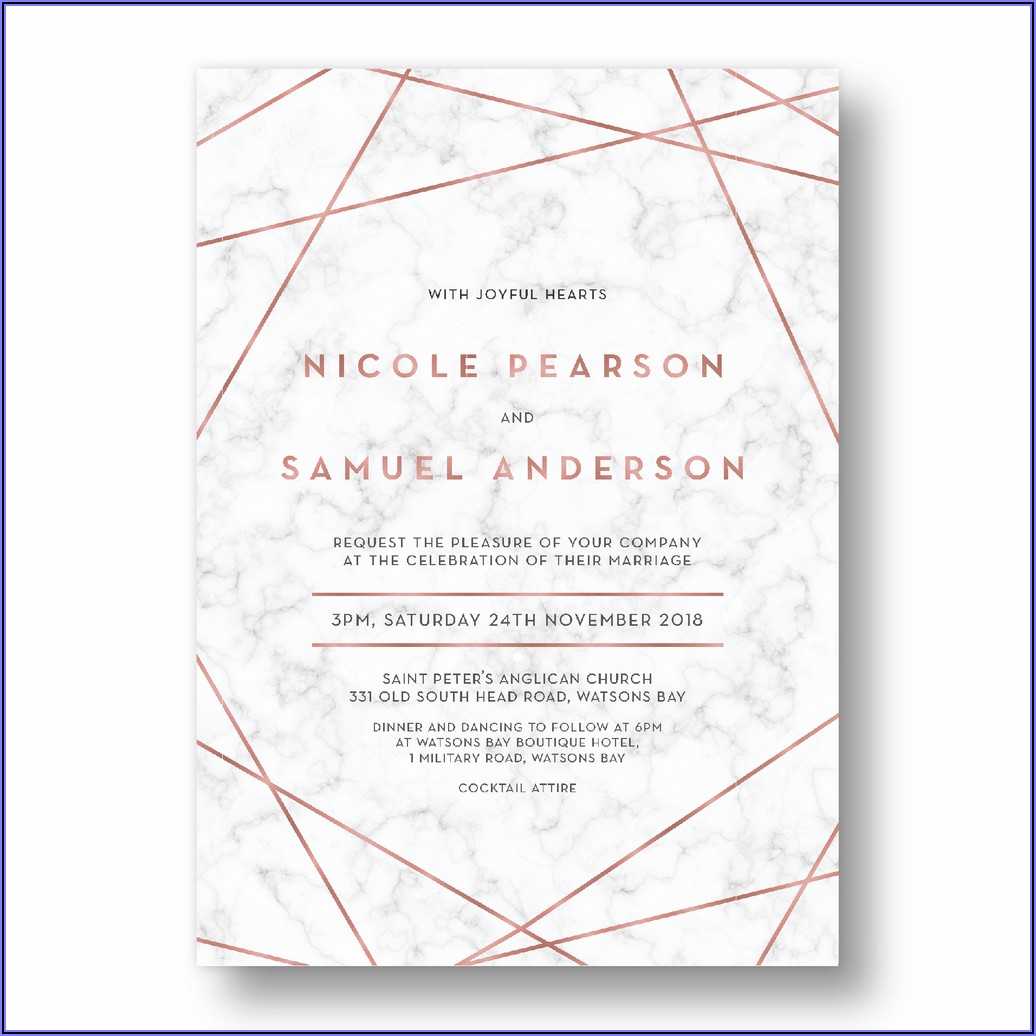 White And Rose Gold Wedding Invitations