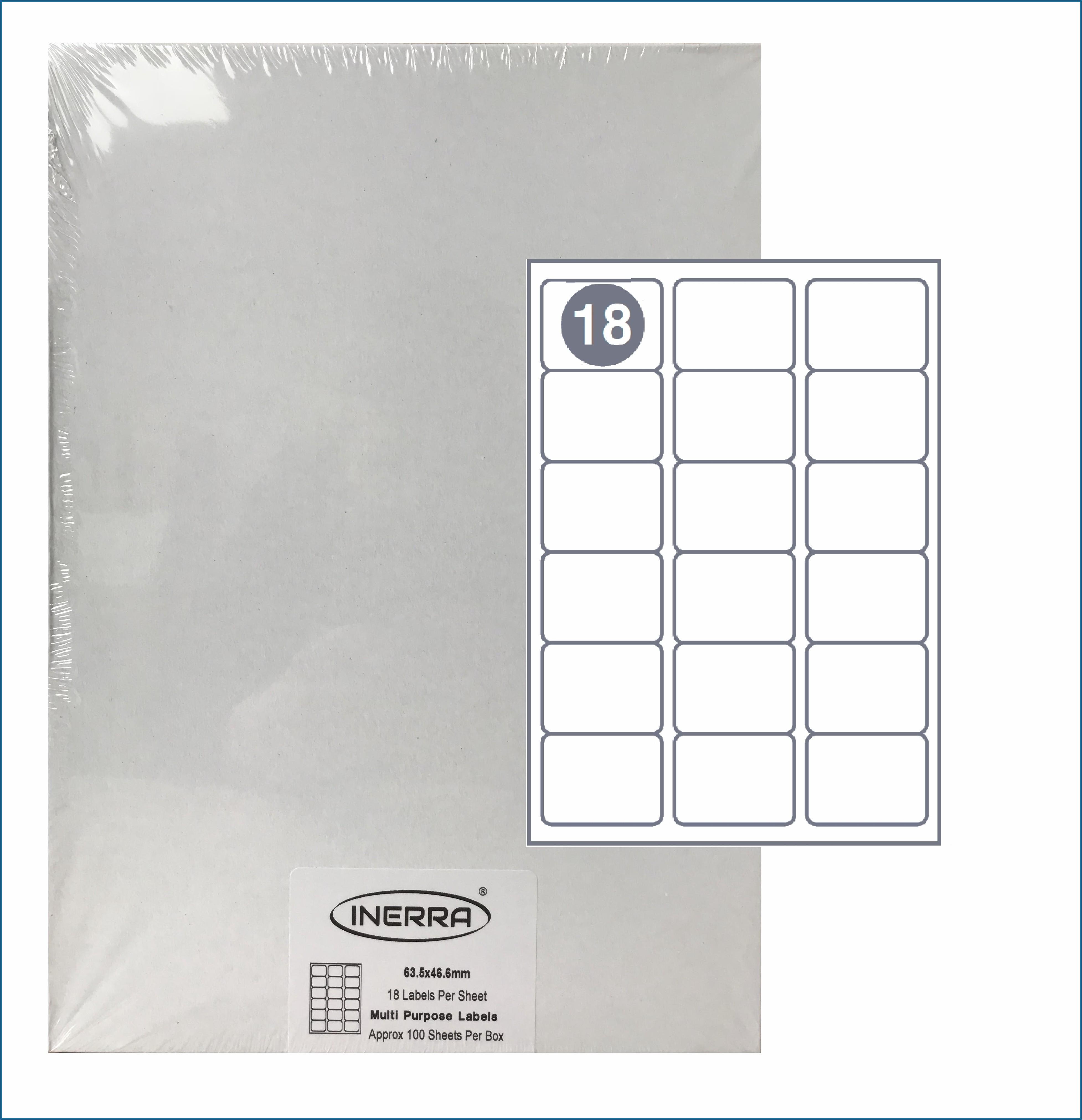 18 Labels Per A4 Sheet Template