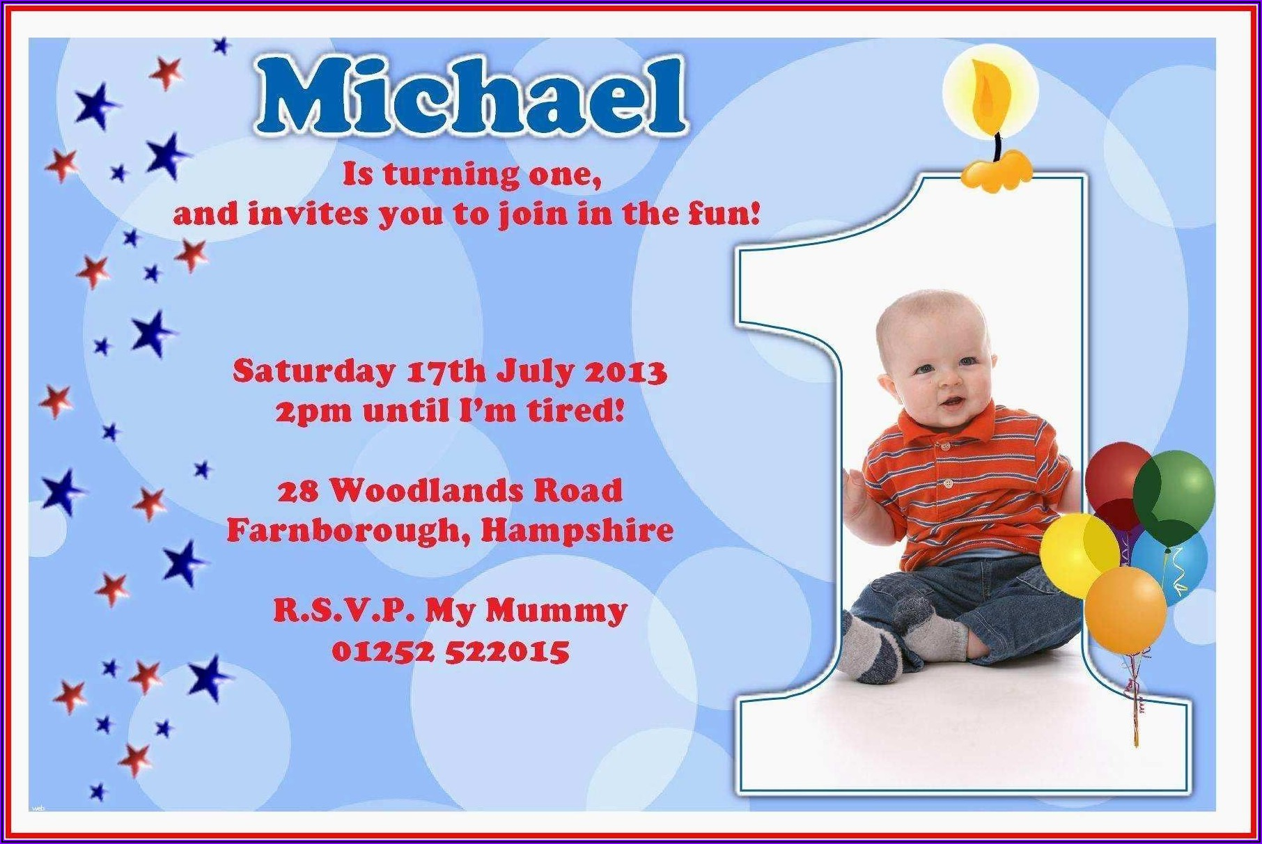 1st Birthday Invitation Message For Friends