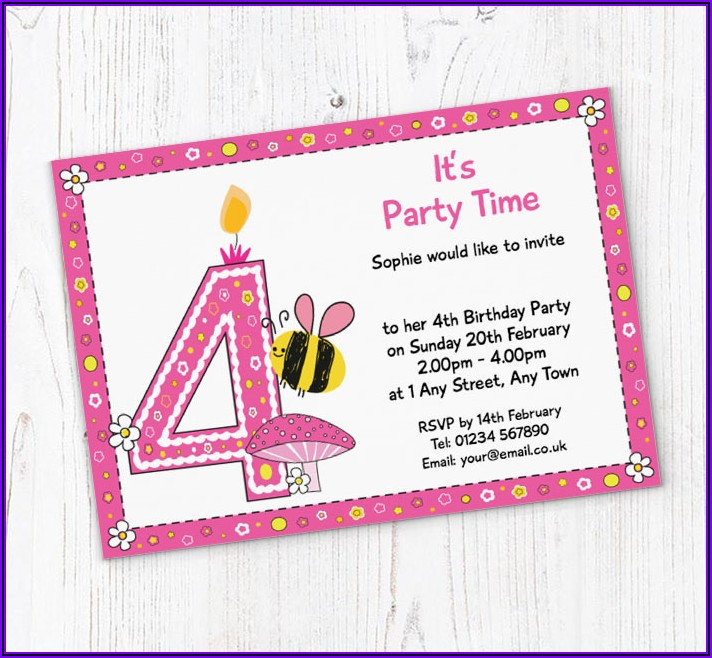 4th Birthday Invitation Message For Girl