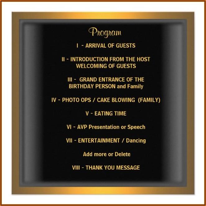 50th Birthday Party Program Sample Pdf
