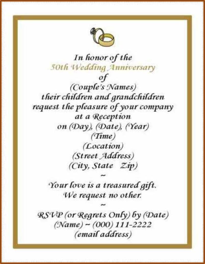 50th Wedding Anniversary Vow Renewal Invitation Wording