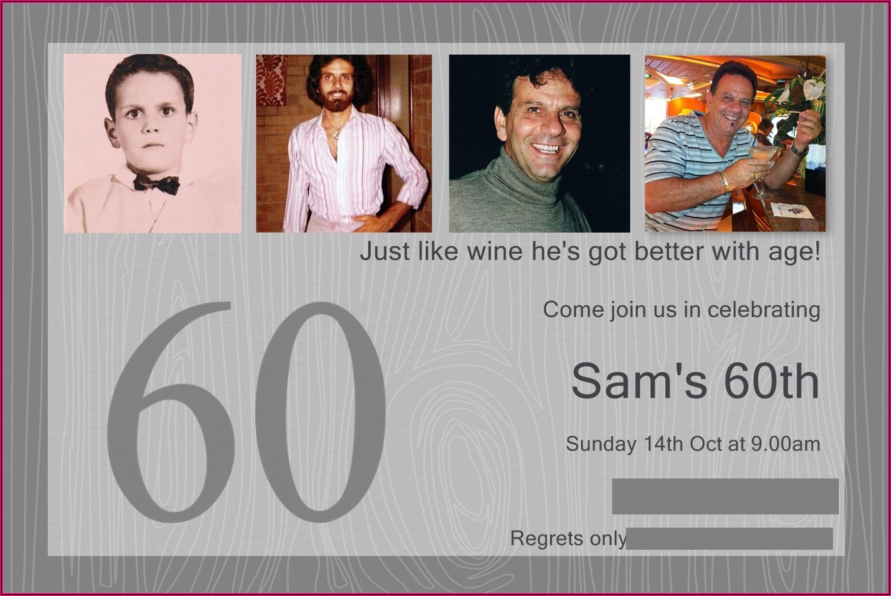 60th Birthday Invitations Male Uk