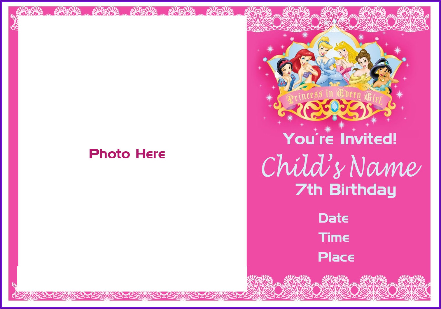 7th Birthday Invitation Message For Girl