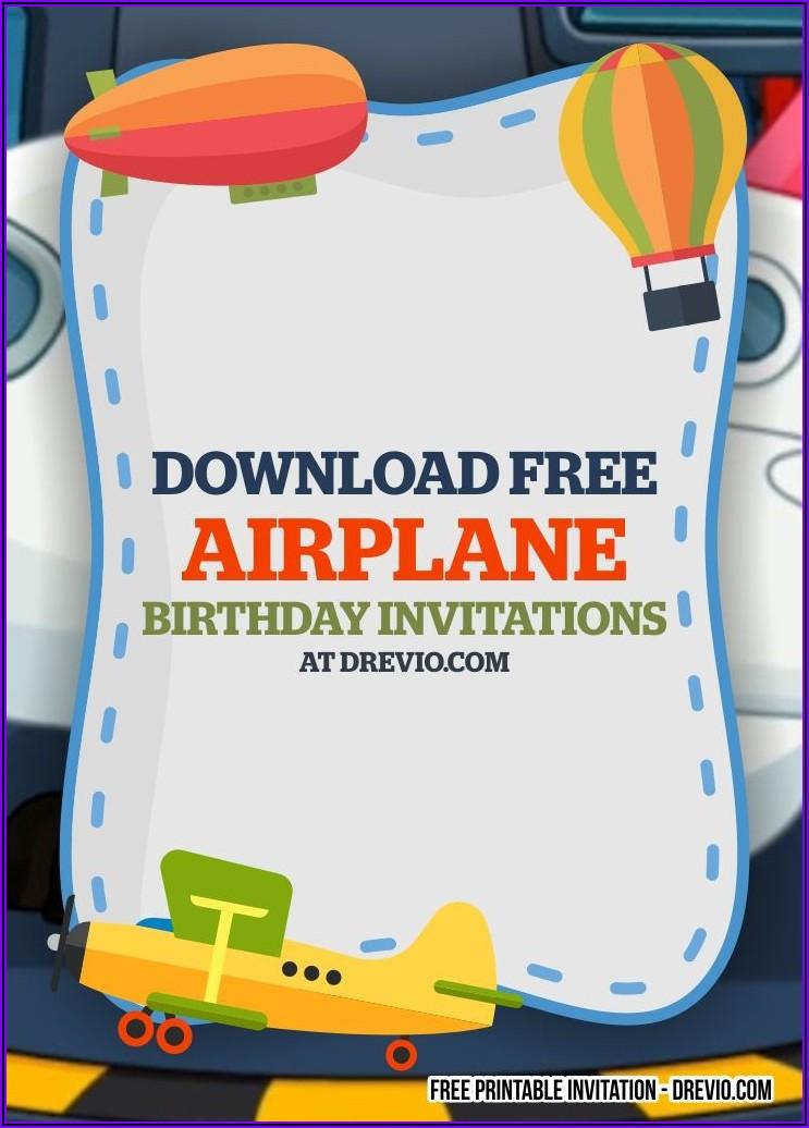 Airplane Birthday Invitation Template Free