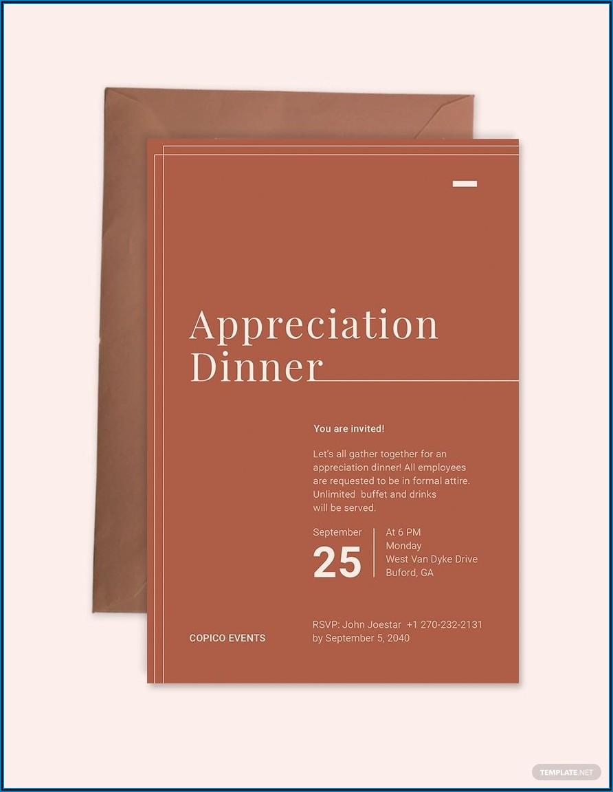 Appreciation Dinner Invitation Free Template