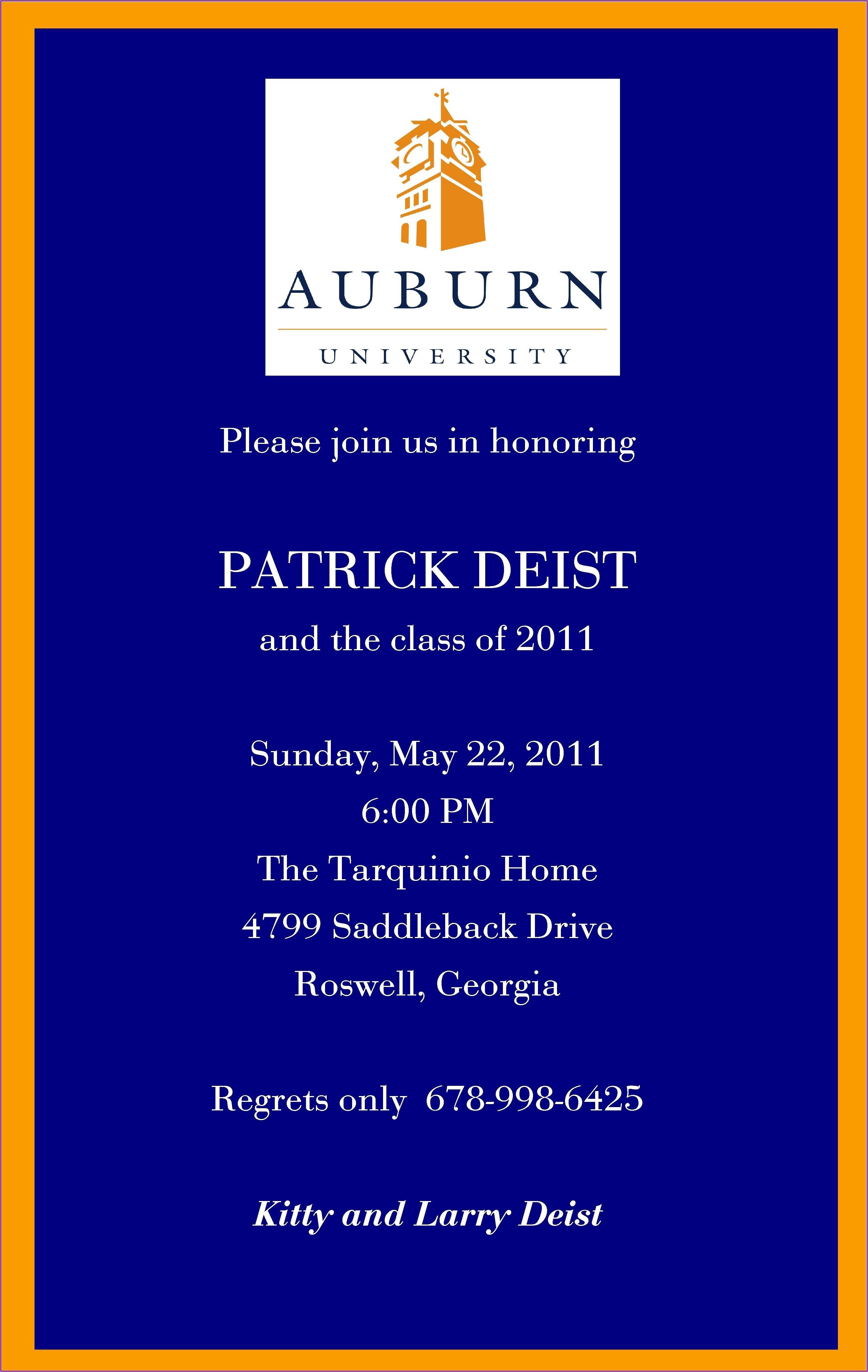 Auburn University Graduation Invitations