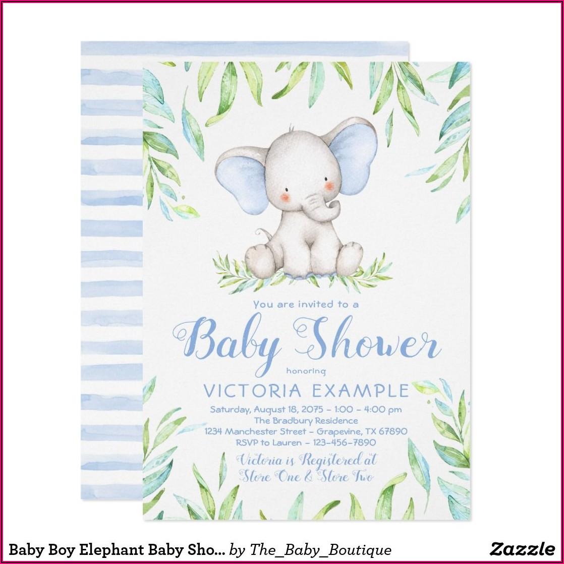 Baby Boy Elephant Shower Invitations