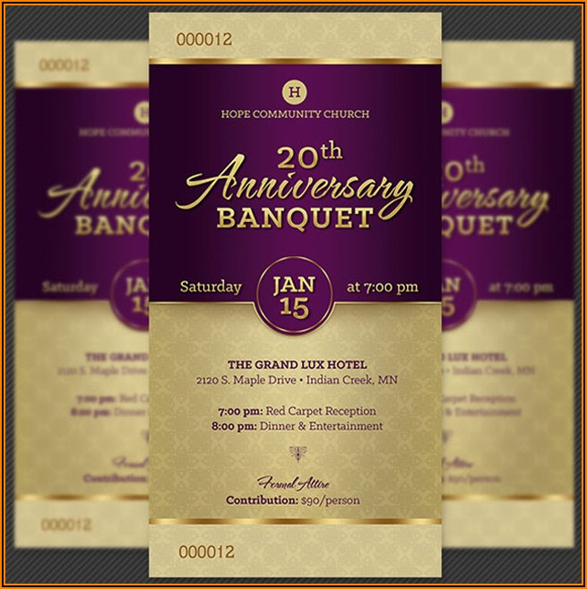 Banquet Ticket Template Free