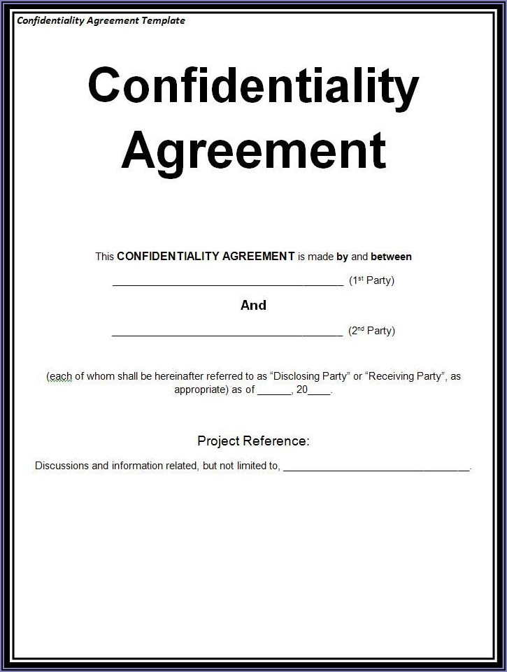 Basic Confidentiality Agreement Template Free