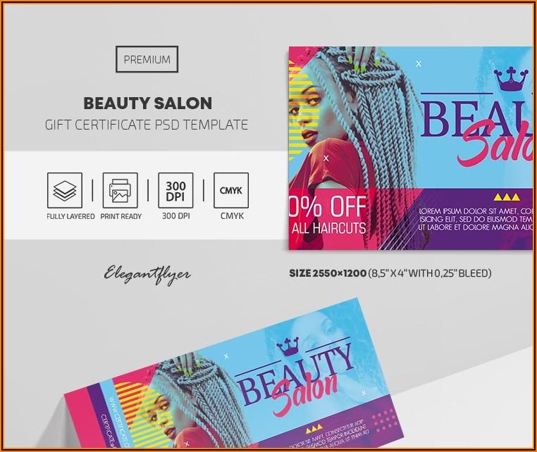 Beauty Shop Gift Certificate Template