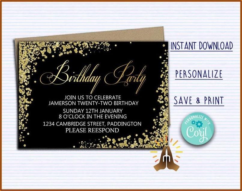 Black And Gold Birthday Invitations Free