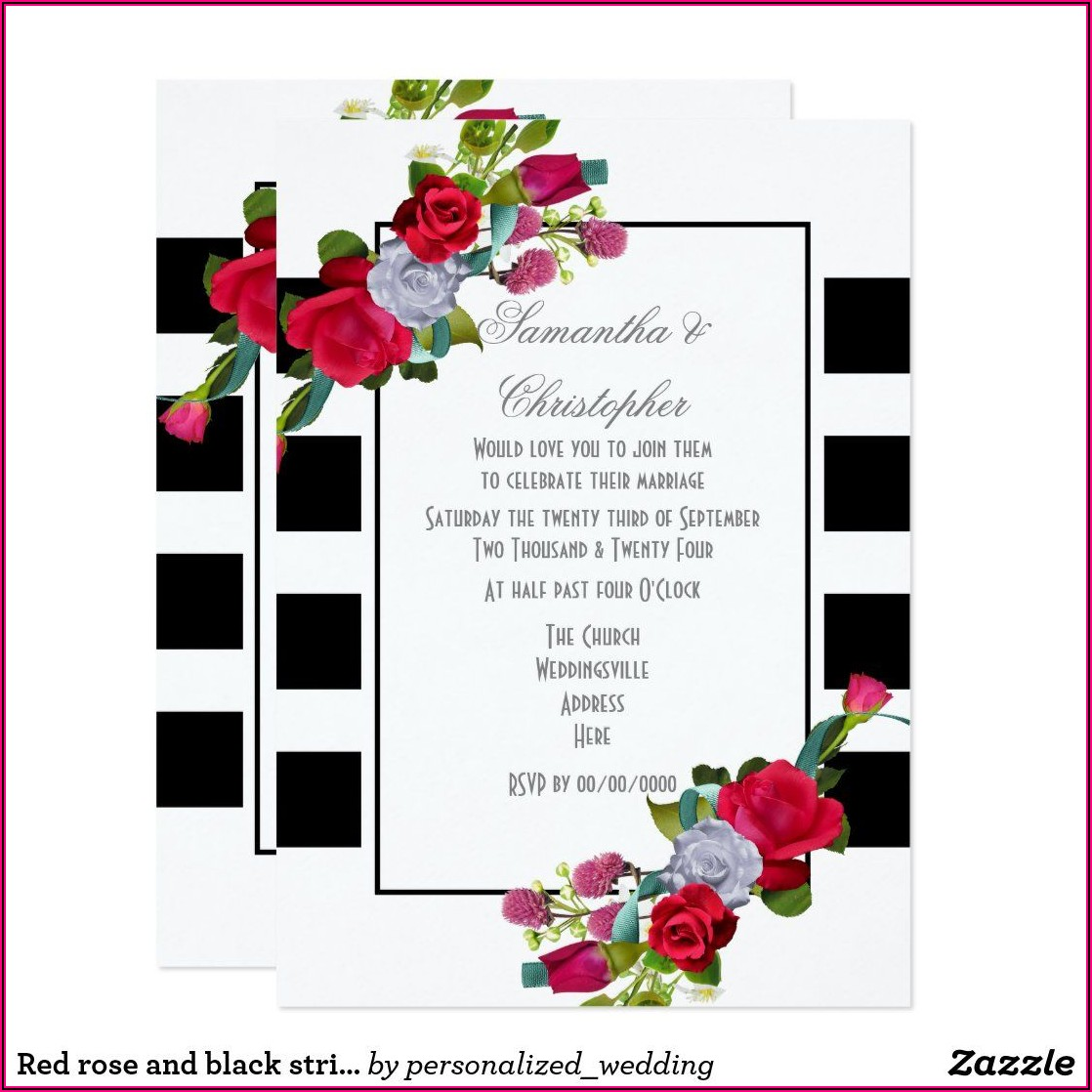 Black And Red Rose Wedding Invitations