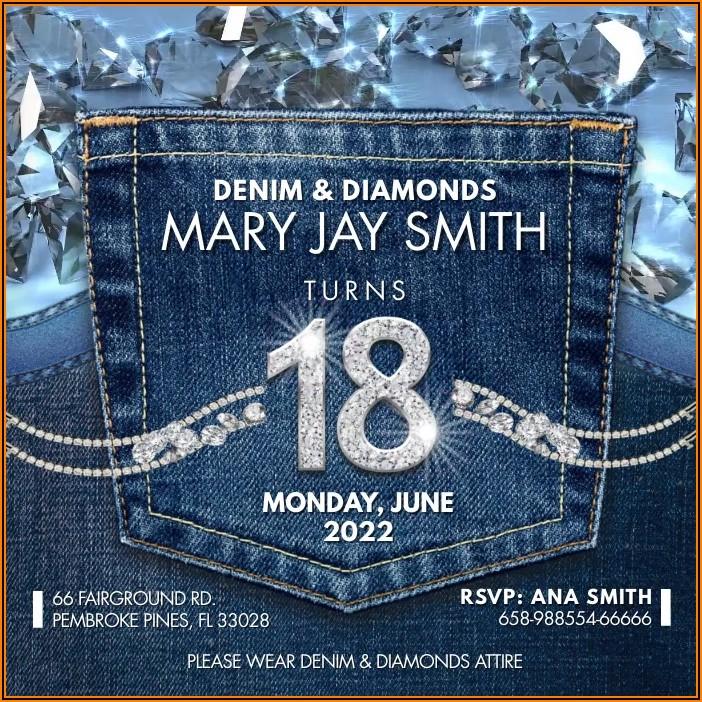 Blank Denim And Diamonds Invitation Templates Free
