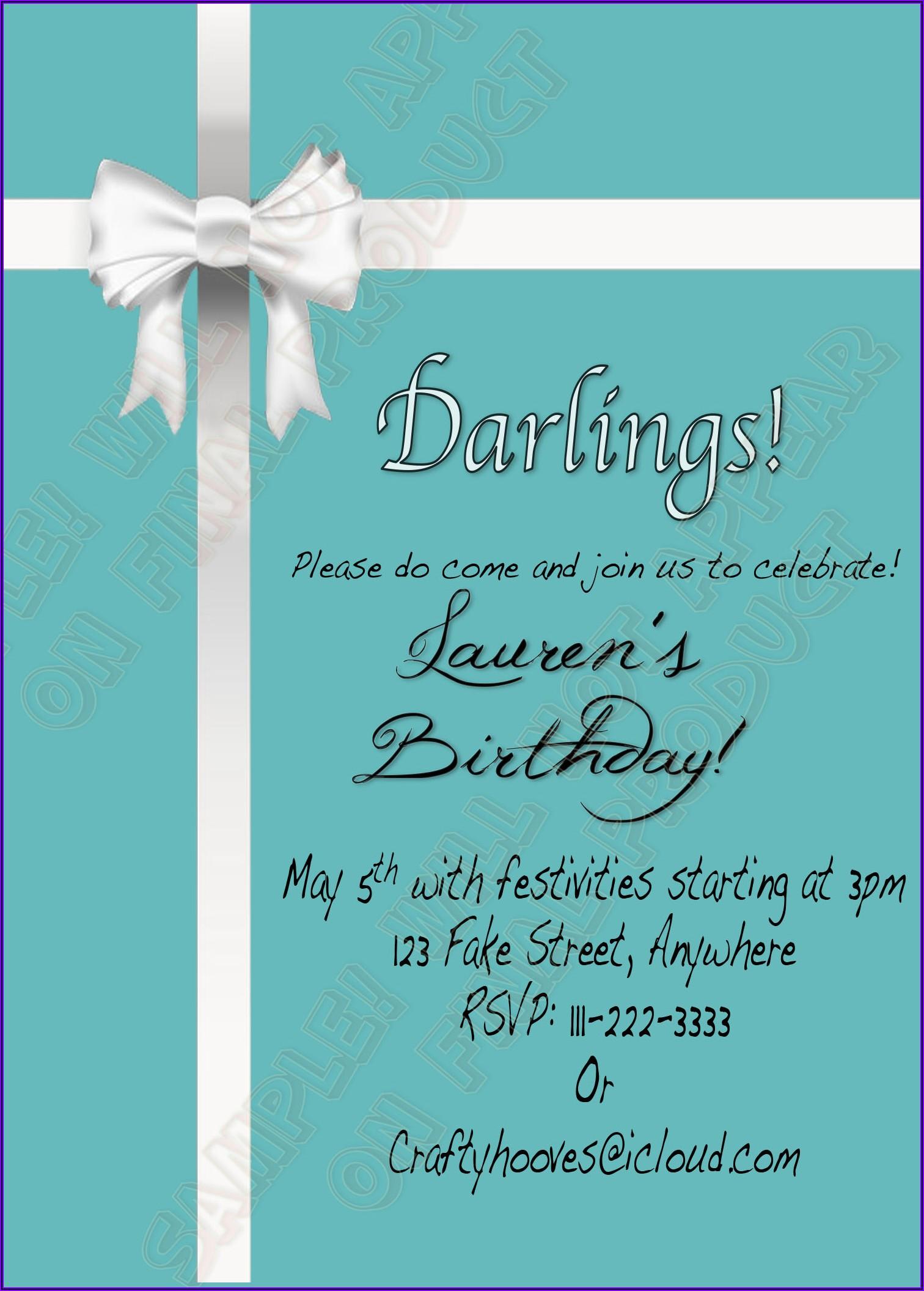 Breakfast At Tiffany's Birthday Invitations