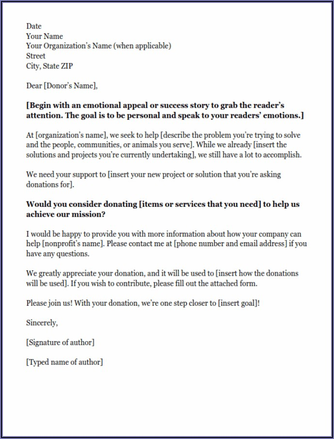 Business Letter Template Asking For Donations