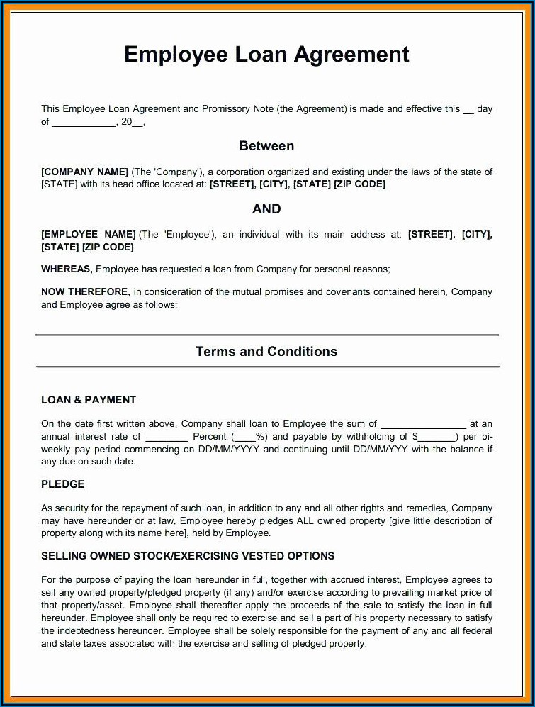 Business Loan Agreement Template Pdf