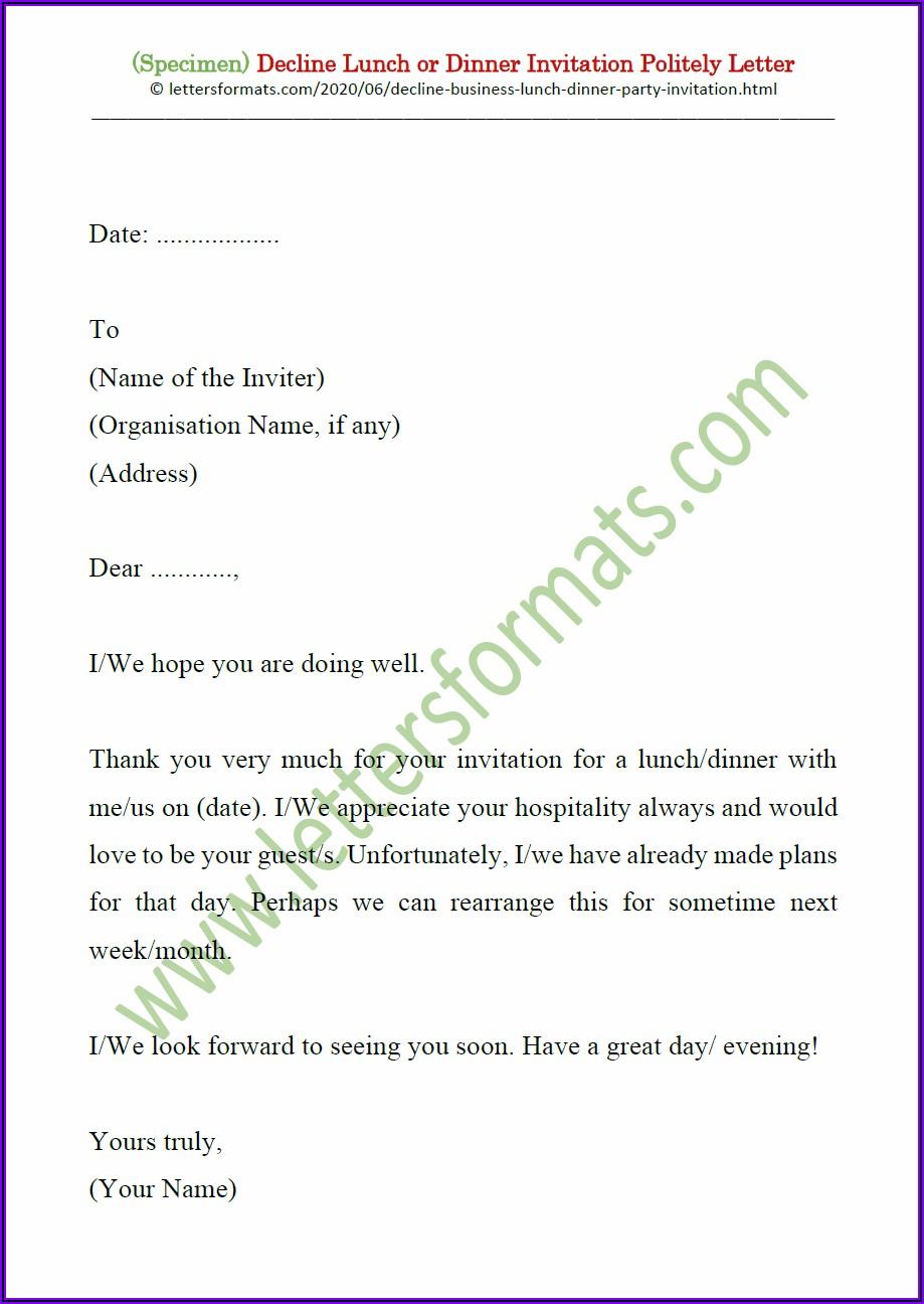 Business Lunch Invitation Letter Sample