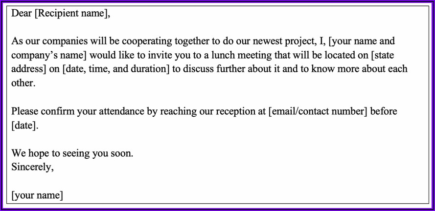 Business Lunch Meeting Invitation Wording