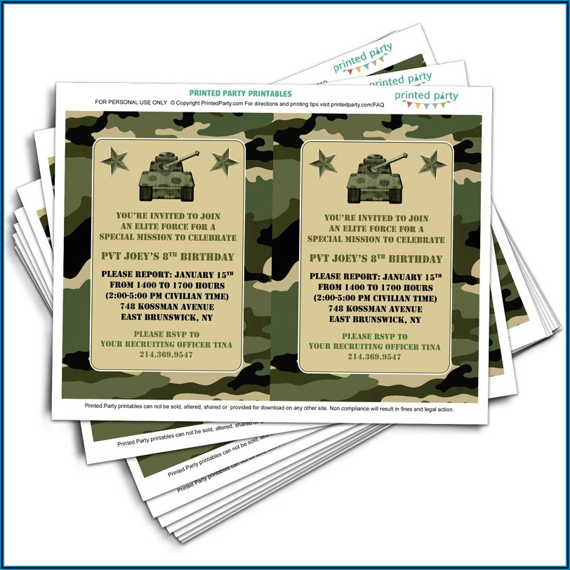 Camouflage Birthday Card Template