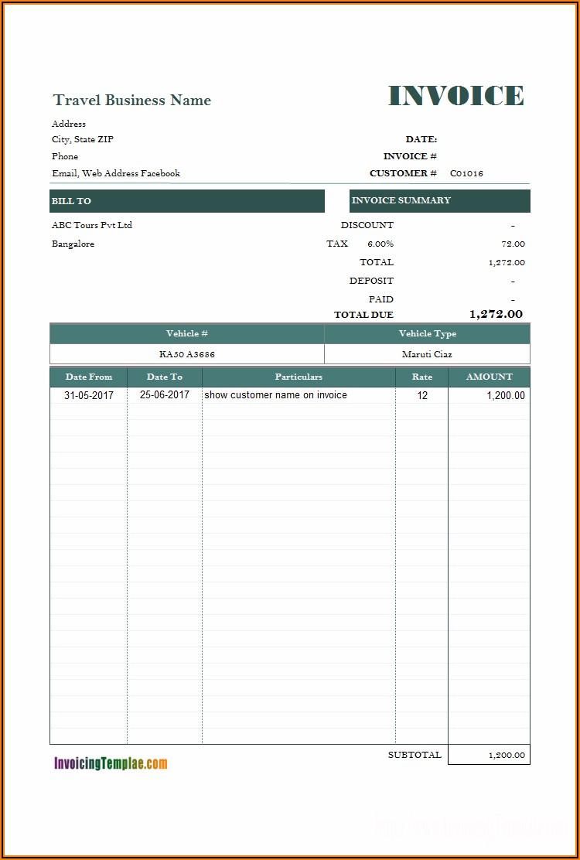 Car Rental Invoice Template Microsoft Word
