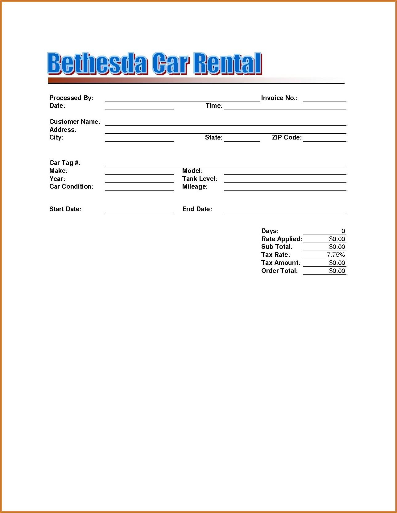 Car Rental Receipts Templates
