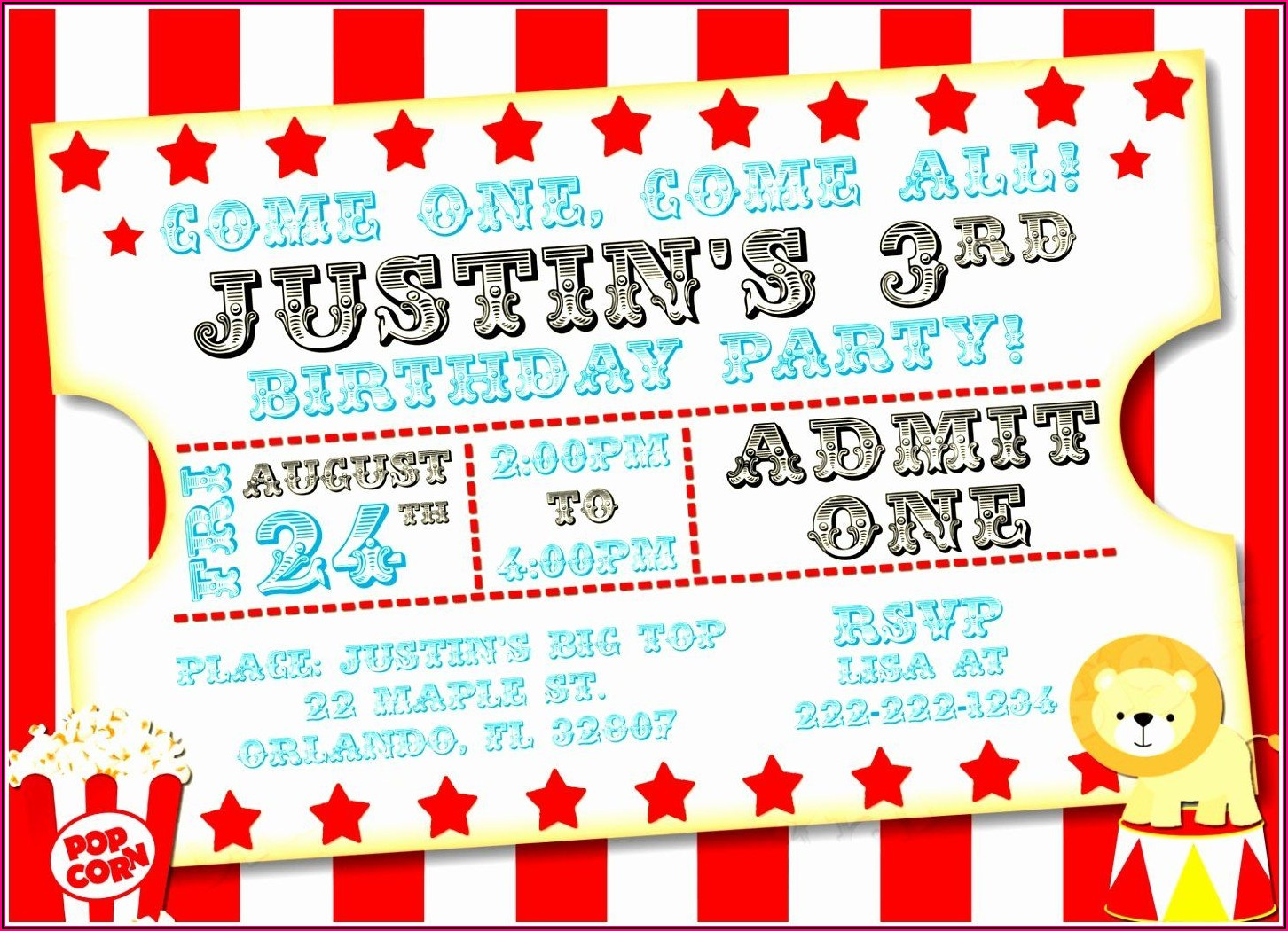 Carnival Birthday Party Invitation Template Free