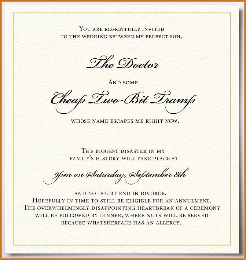 Casual Wedding Invitation Wording Couple Hosting