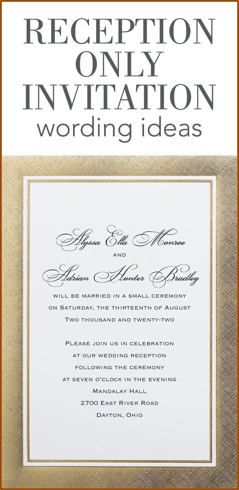 Casual Wedding Reception Invitation Wording Samples