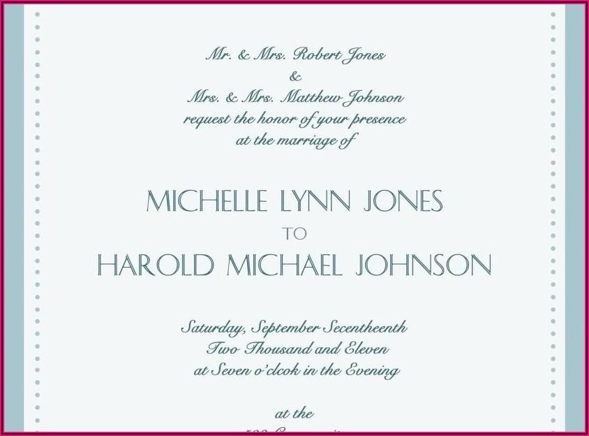 Catholic Wedding Invitation Wording Bride And Groom Hosting