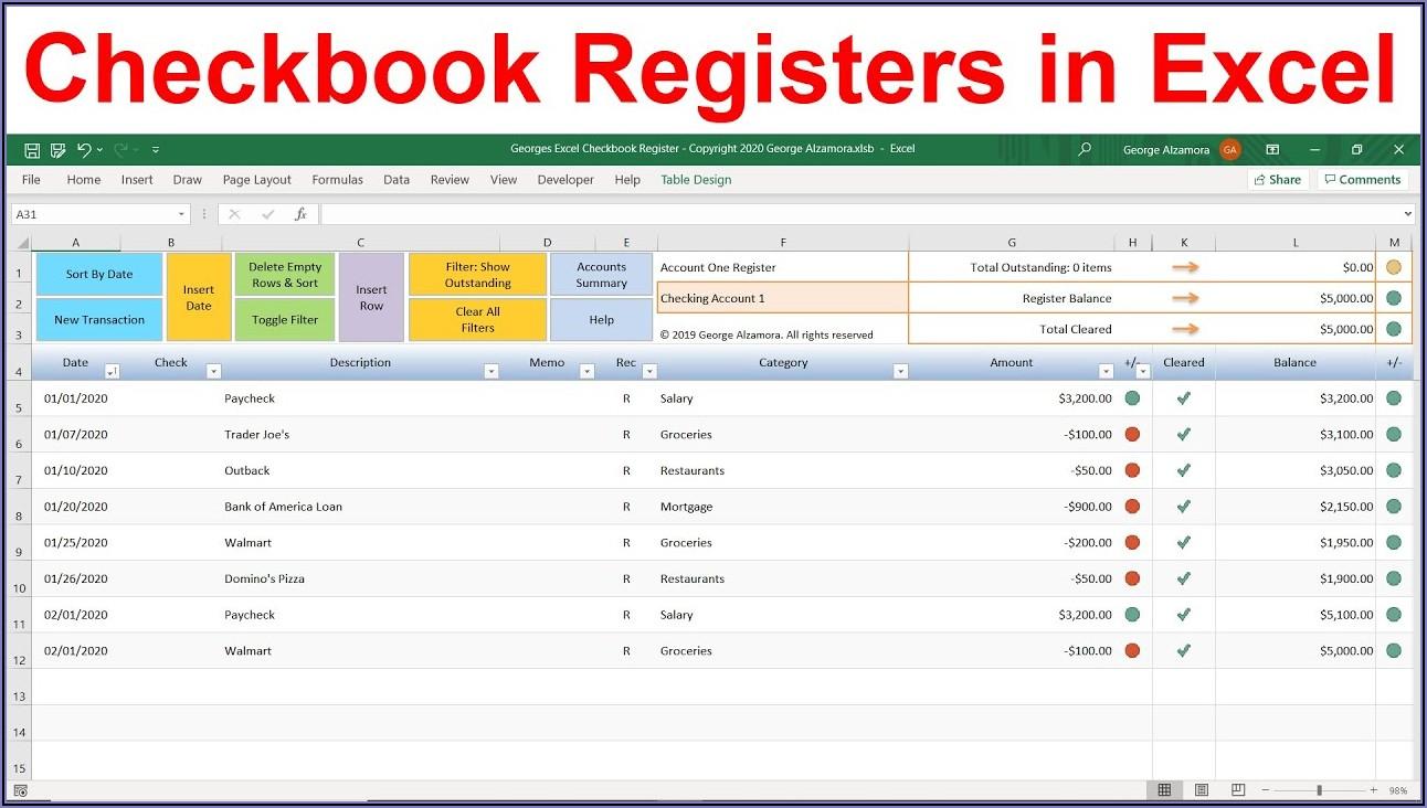 Checkbook Balance Template Excel