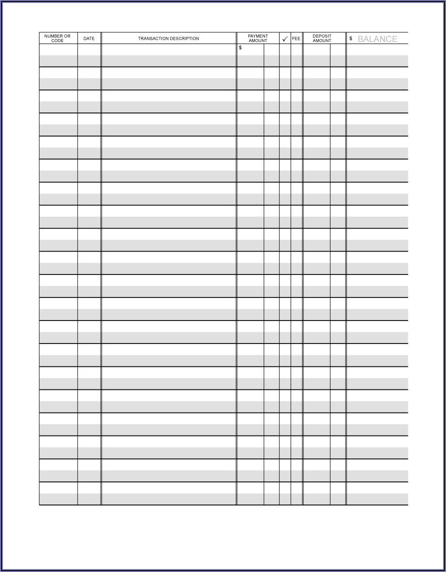 Checkbook Ledger Template Excel