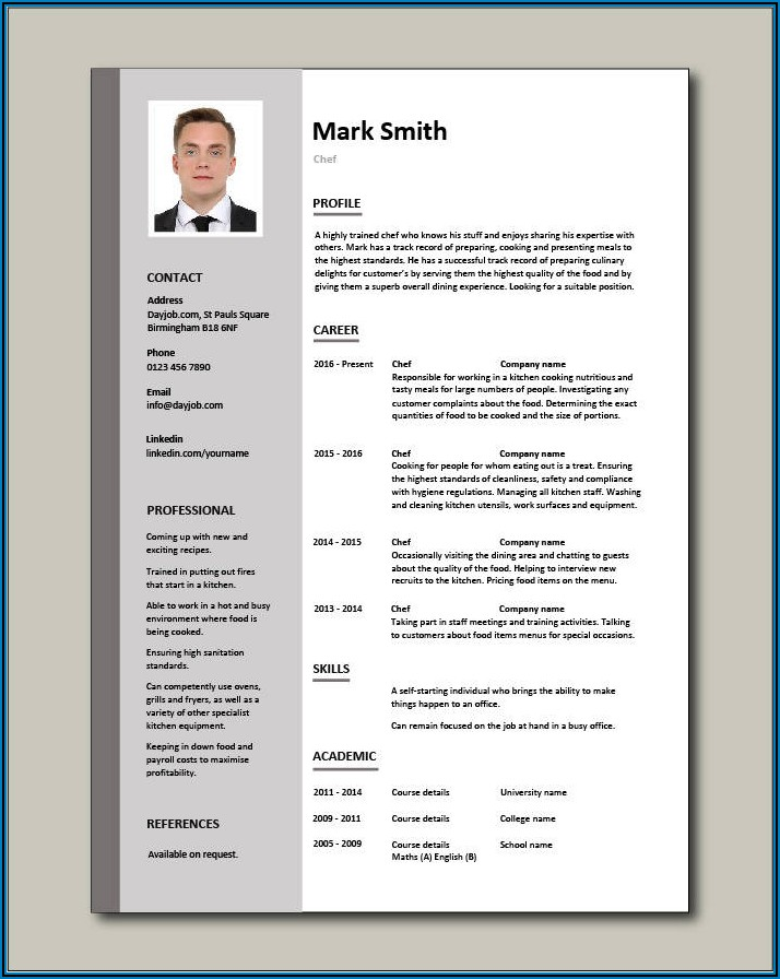 Chef Resume Template Free Word