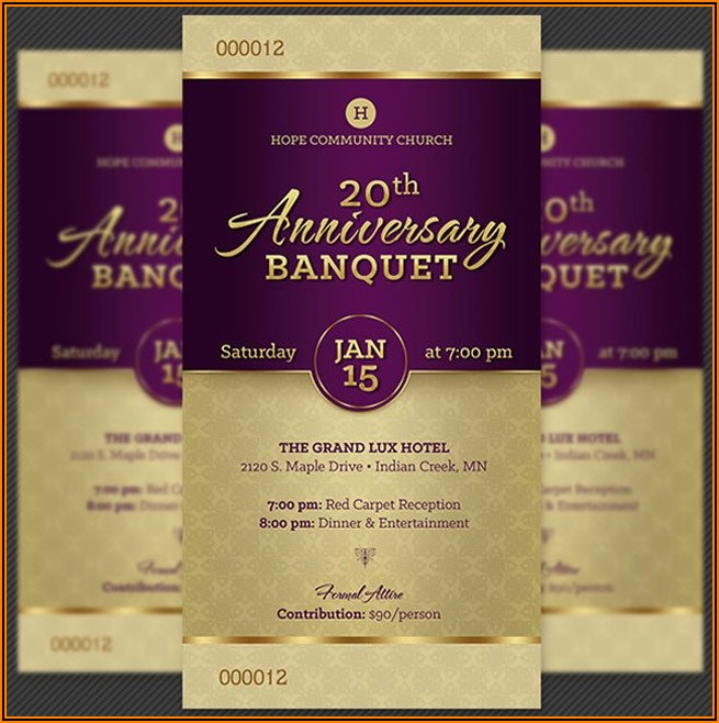 Church Anniversary Banquet Ticket Template Free