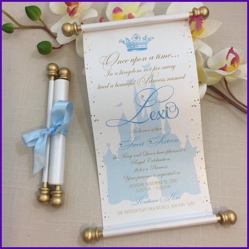 Cinderella Quinceanera Invitations Scroll