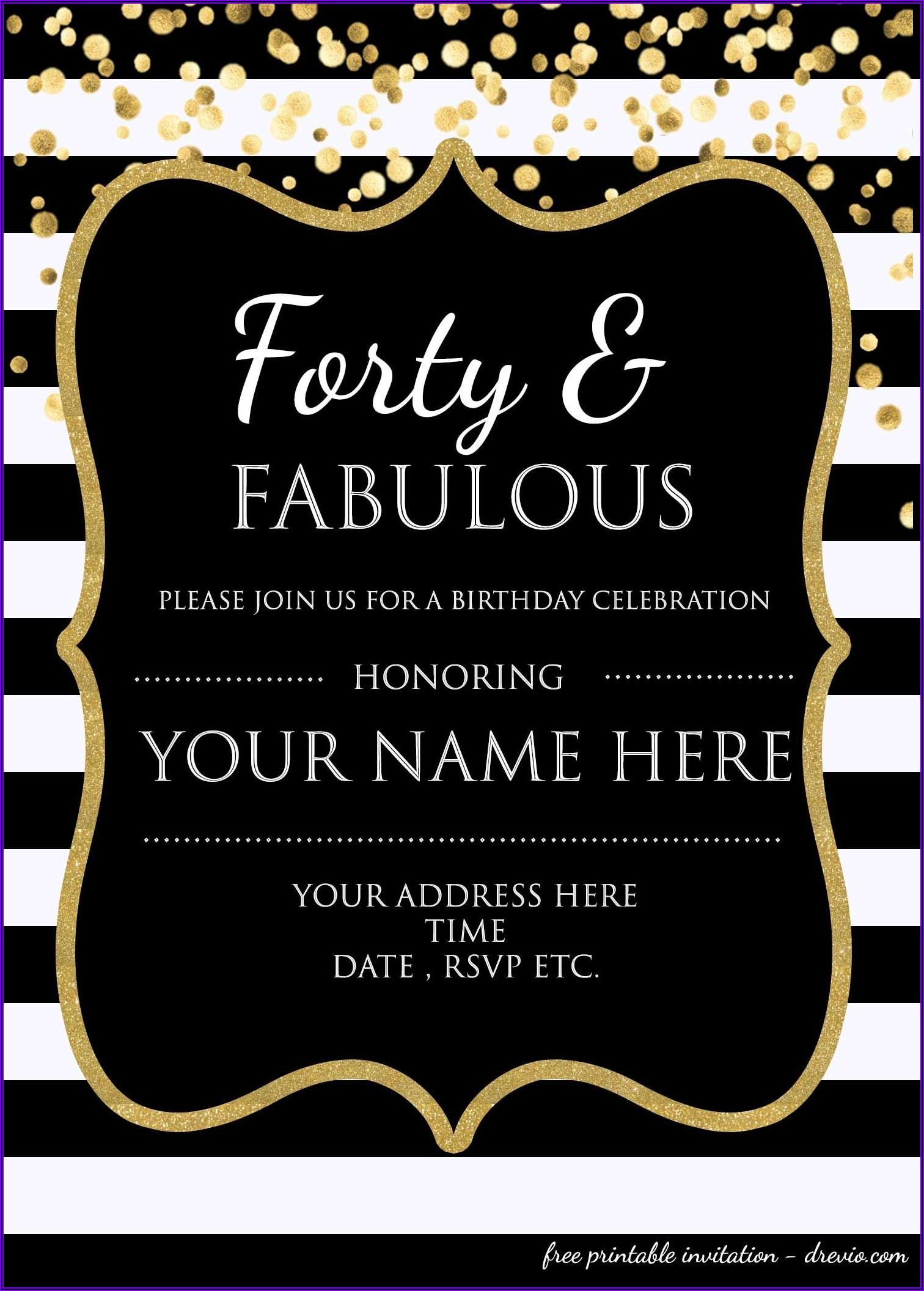 Classy 40th Birthday Invitation Wording