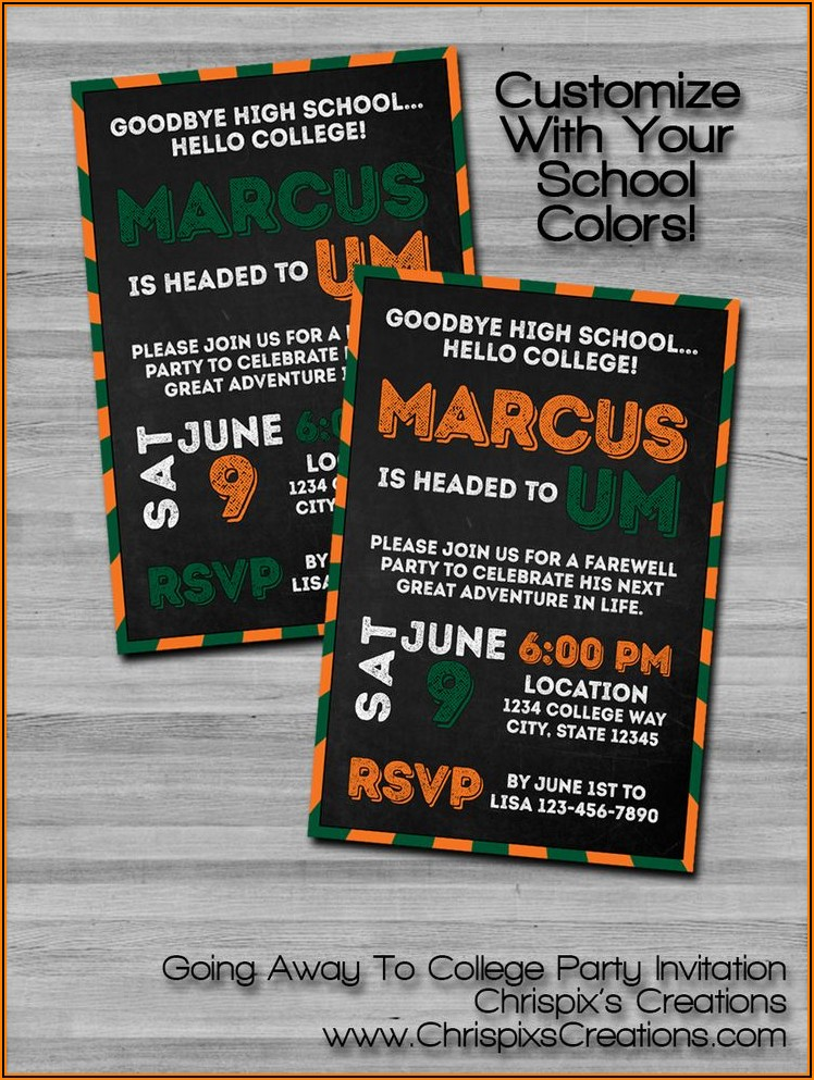 College Going Away Invitations