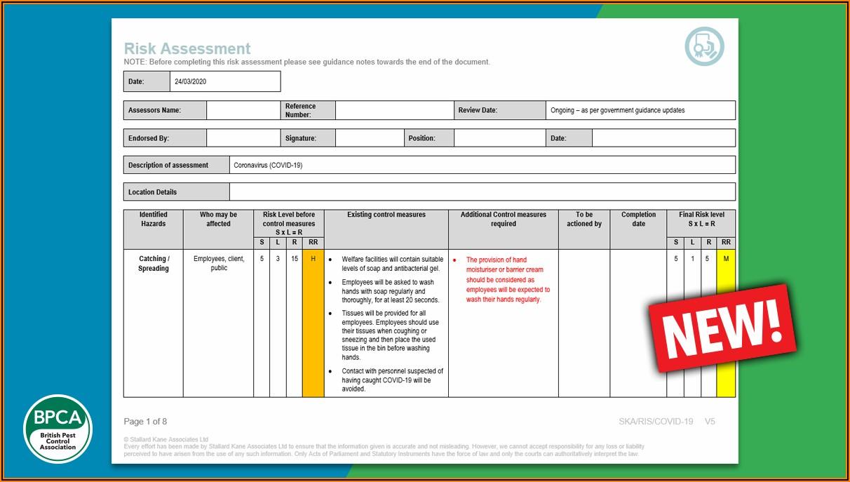Covid Venue Risk Assessment Template