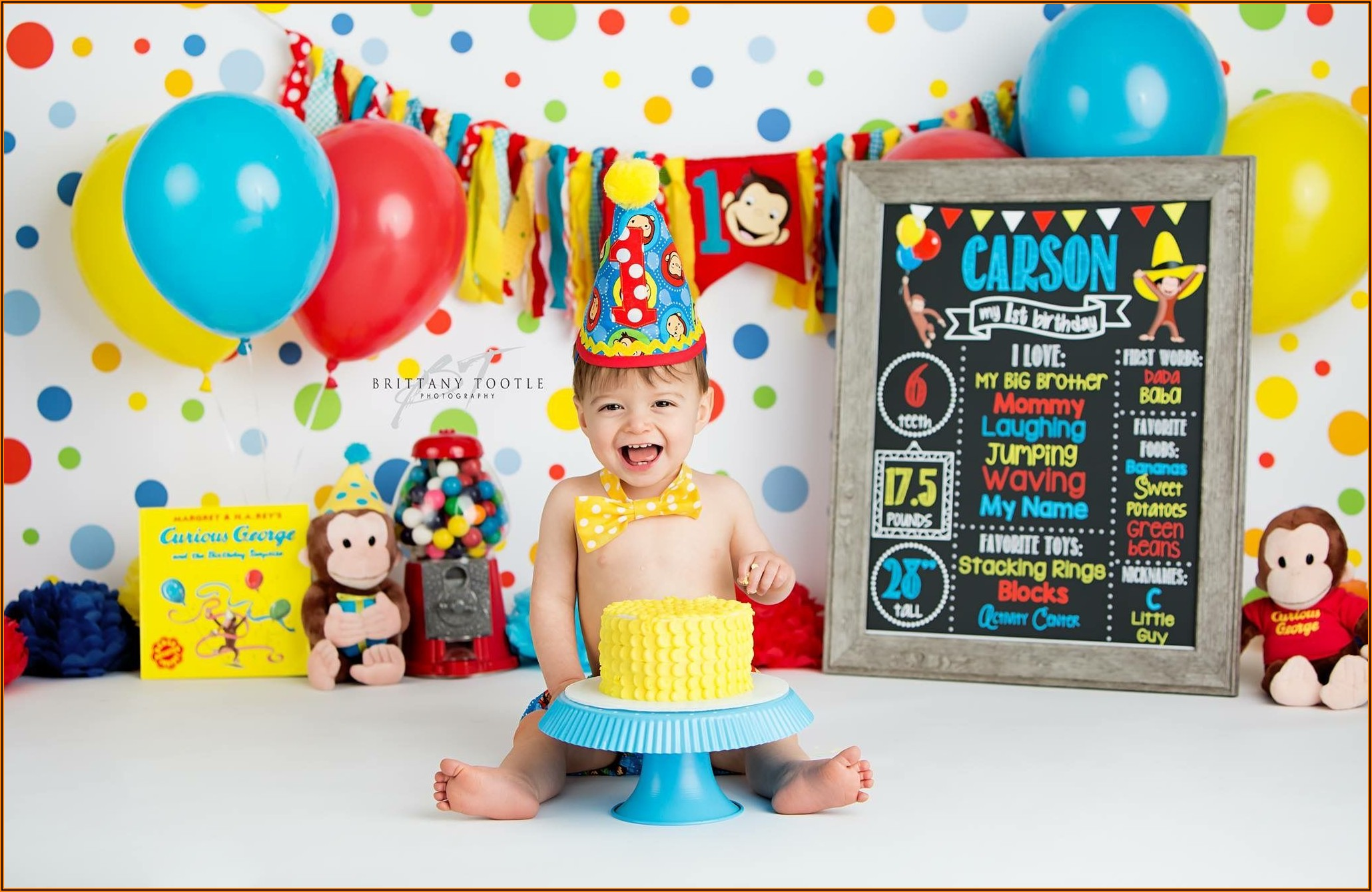 Curious George 1st Birthday Invitations