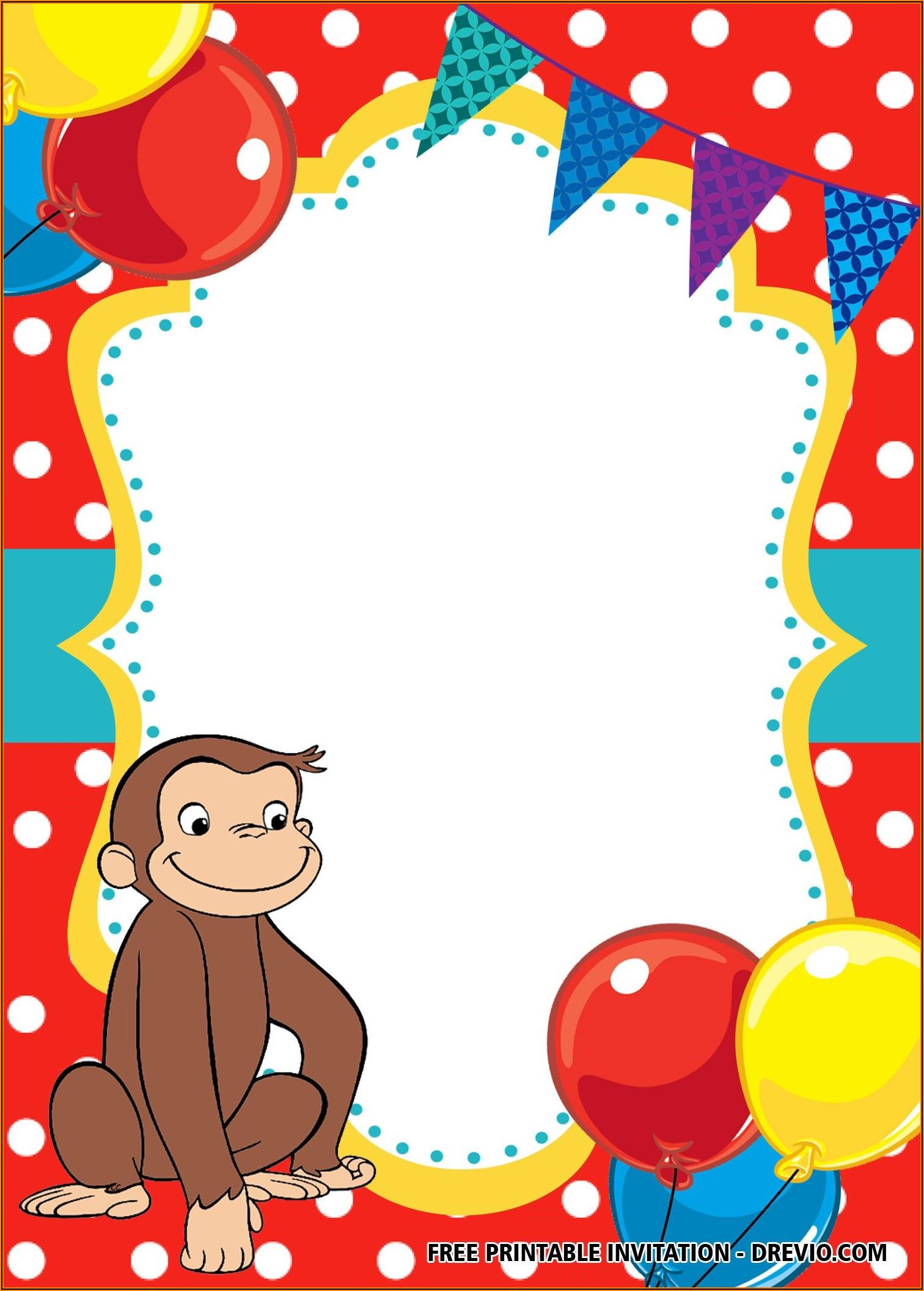 Curious George 2nd Birthday Invitations
