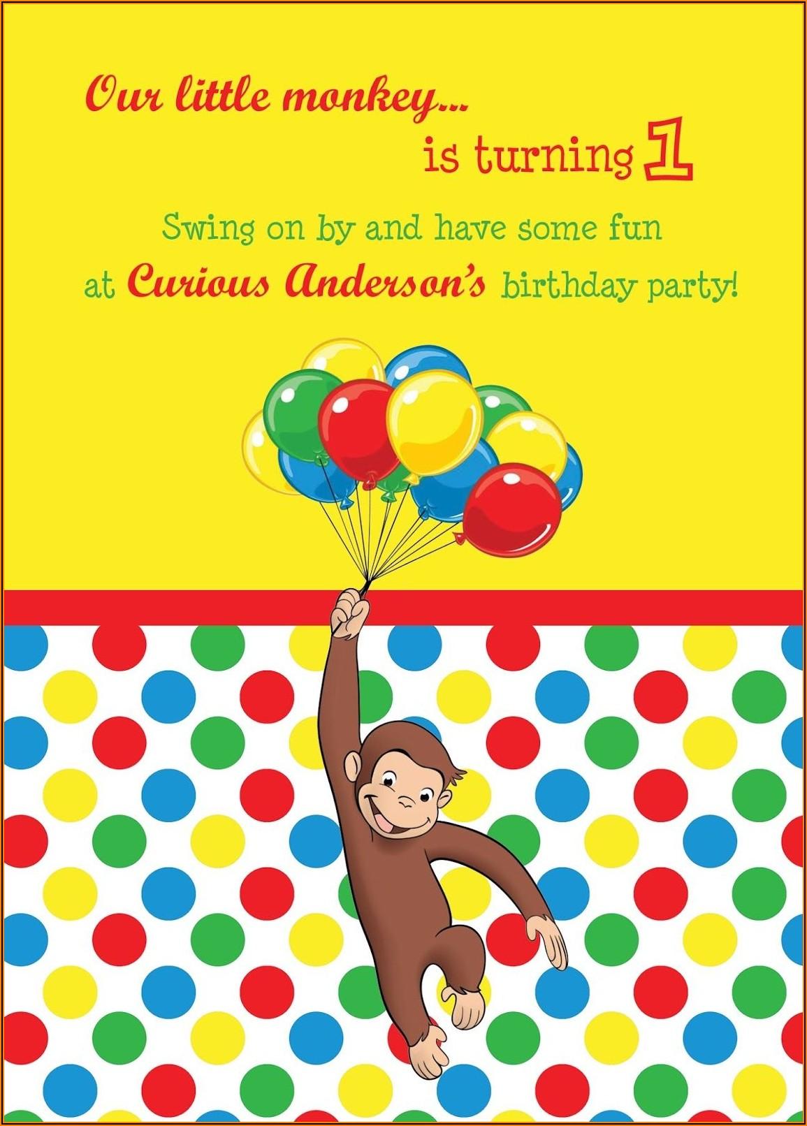 Curious George Birthday Invitations