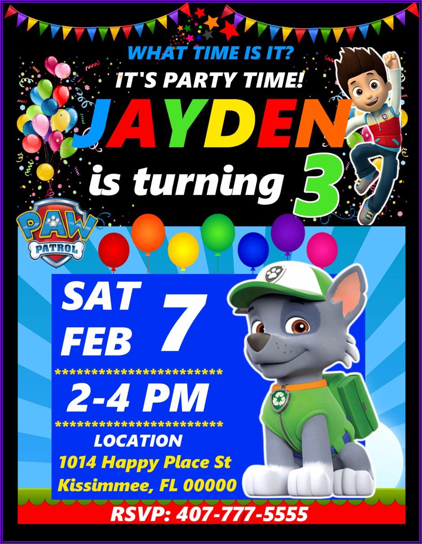 Custom Paw Patrol Birthday Invitations