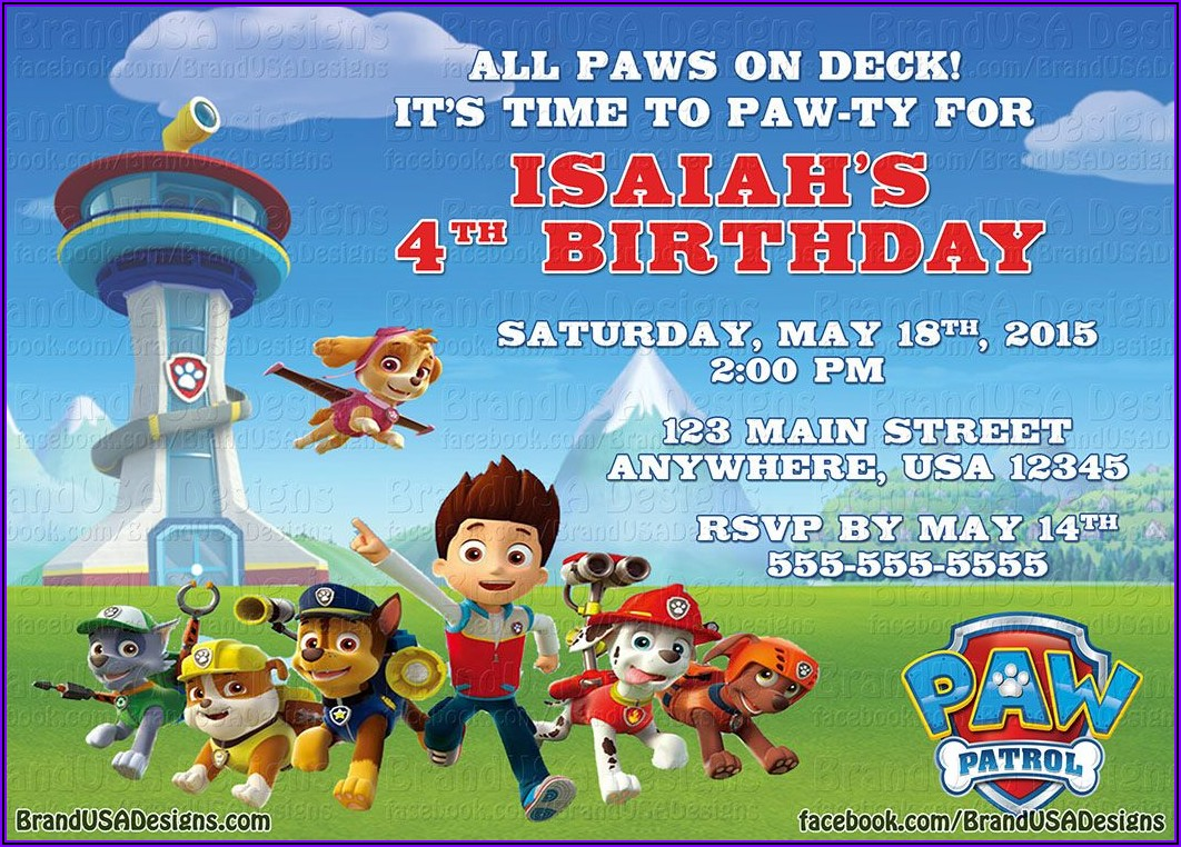 Custom Paw Patrol Invitations