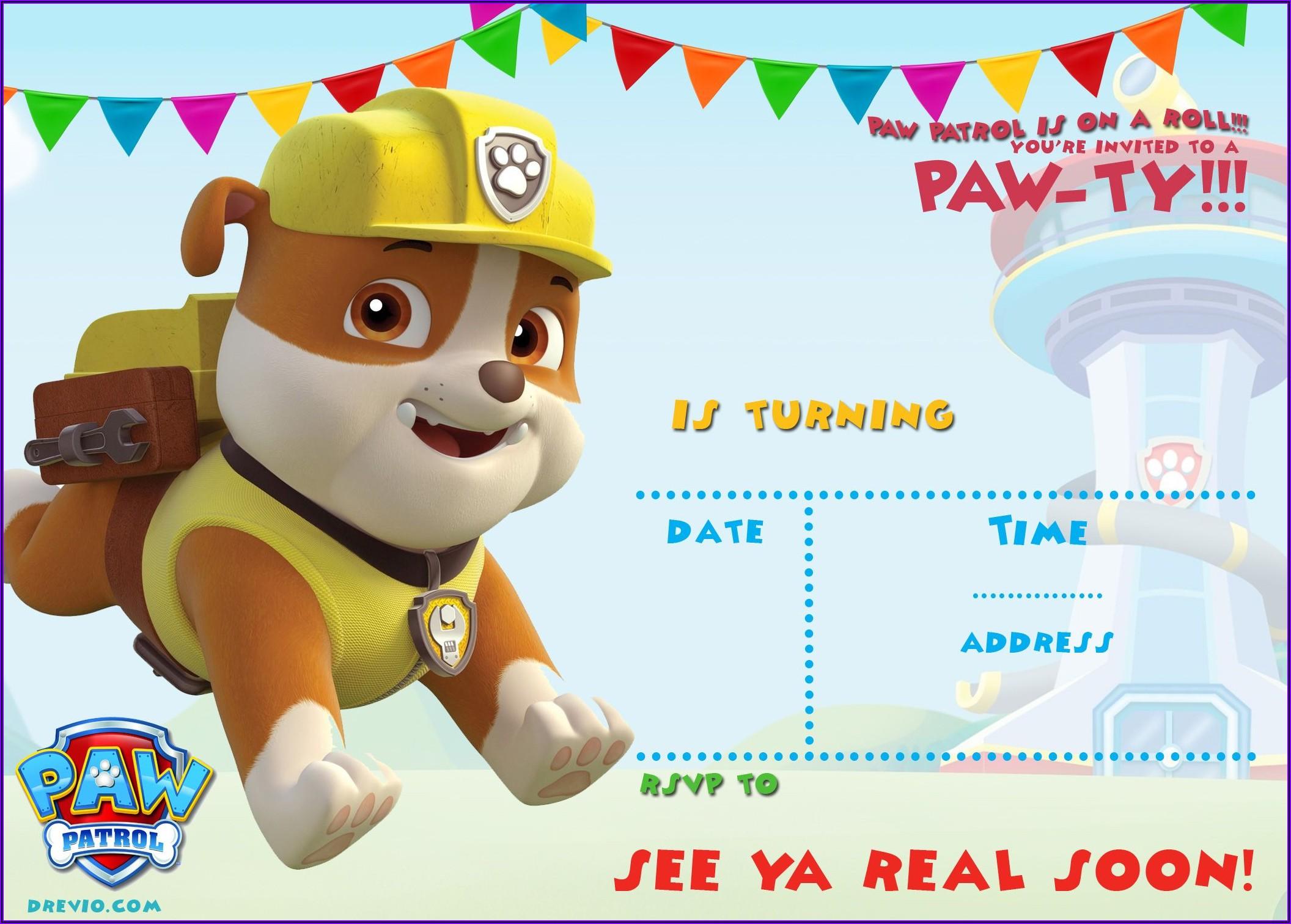 Customizable Paw Patrol Invitations