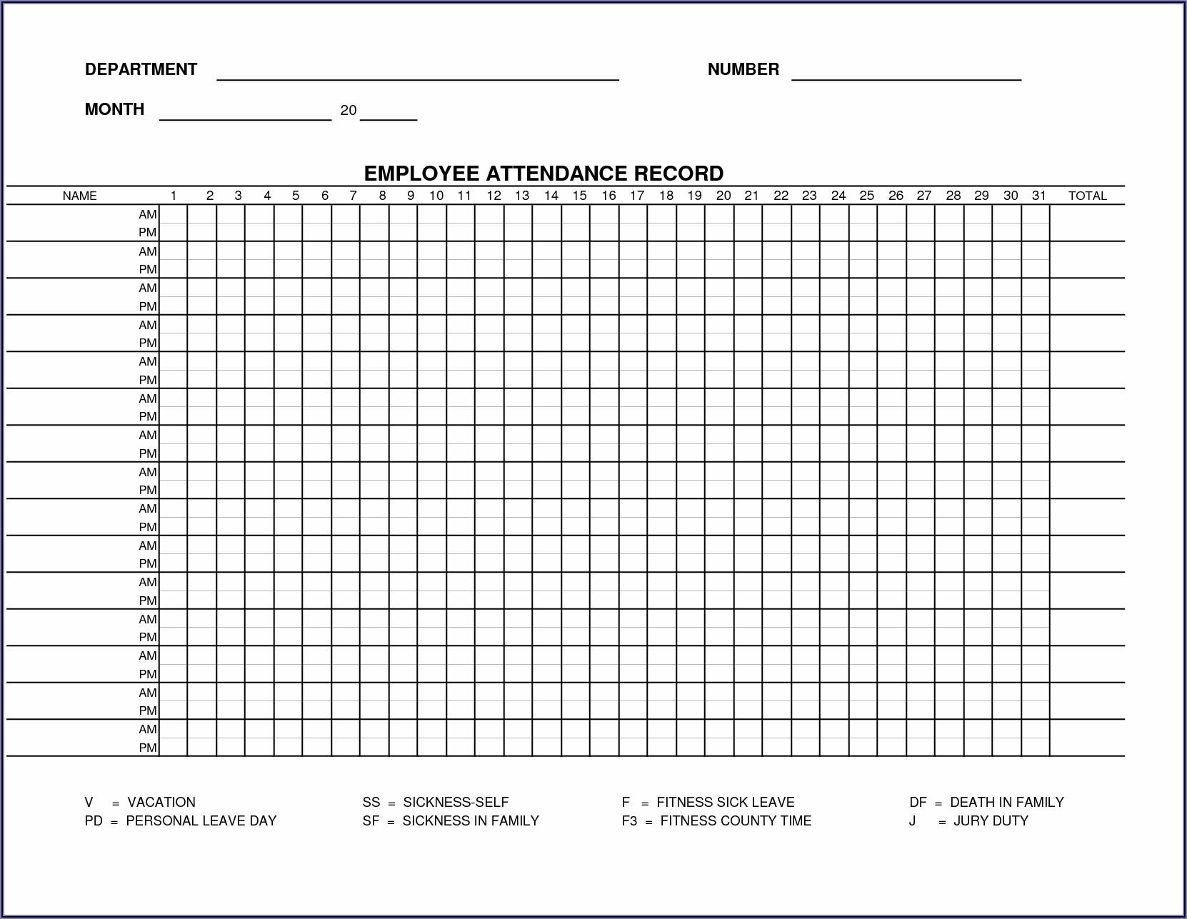 Daily Attendance Register Template