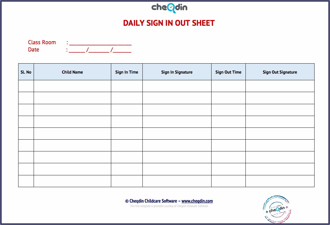 Daily Sign In Sheet Template Free