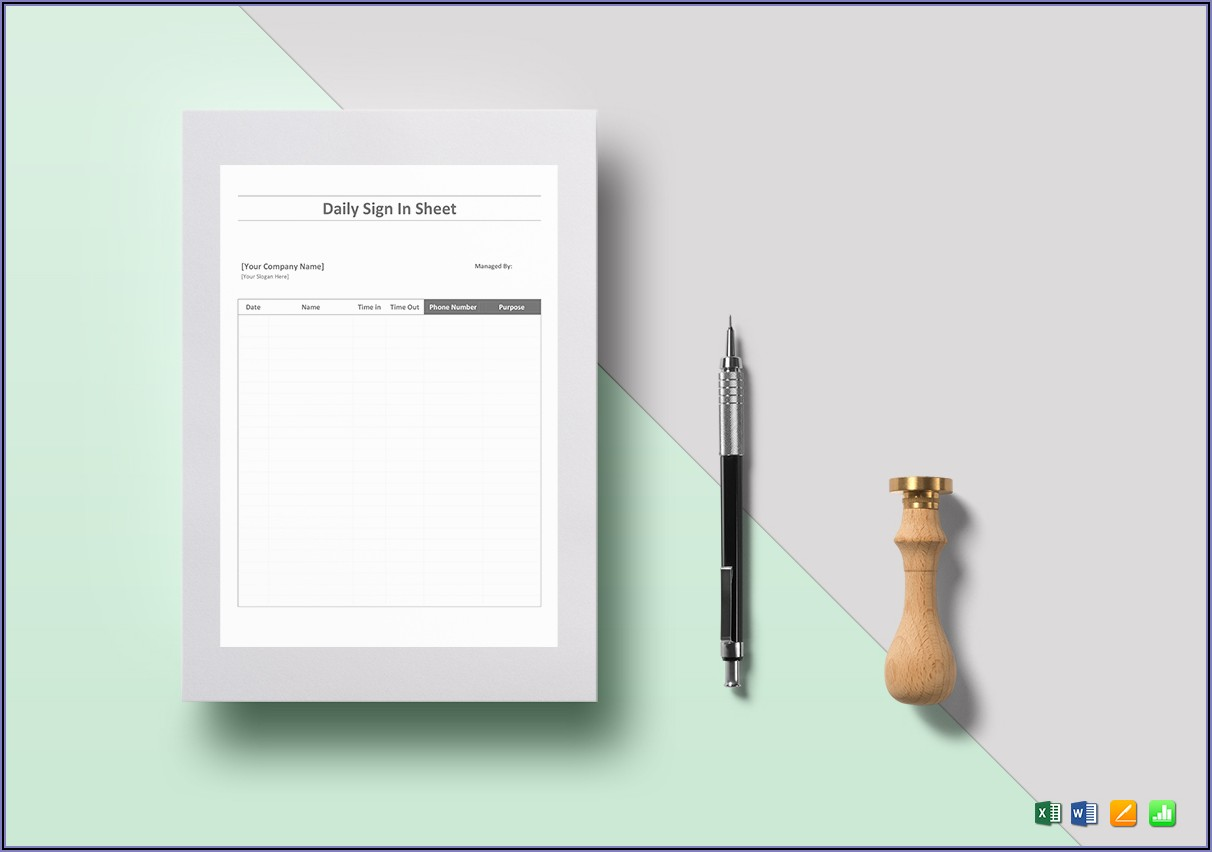 Daily Sign In Sheet Template Word